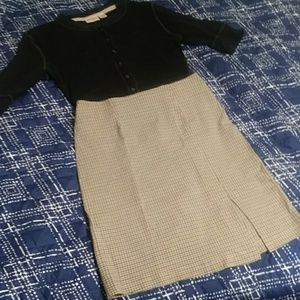 Beige Plaid Split Pencil Skirt